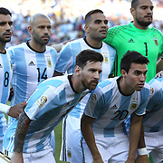 FOXBOROUGH, MASSACHUSETTS - JUNE 18:  Lionel Messi #10 of Argentina, (front, left), poses for a team group photograph during the Argentina Vs Venezuela Quarterfinal match of the Copa America Centenario USA 2016 Tournament at Gillette Stadium on June 18, 2016 in Foxborough, Massachusetts. (Photo by Tim Clayton/Corbis via Getty Images)