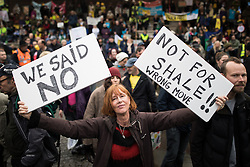 © Licensed to London News Pictures . 12/11/2016 . Manchester , UK . The rally at Castlefield . Approximately 2000 people march and rally against Fracking in Manchester City Centre . Photo credit : Joel Goodman/LNP