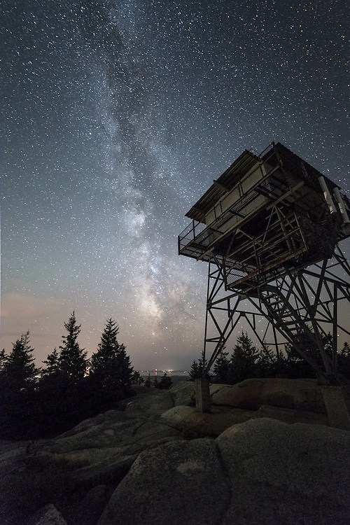 Milky Way over the Fire Tower in Acadia National Park.
