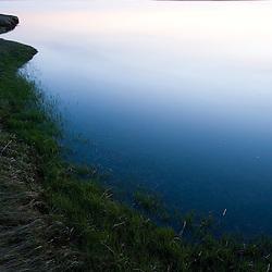 Salt marsh in spring.  Strawberry Hill Preserve in Ipswich, Massachusetts.  Eagle Hill River.  Dusk.