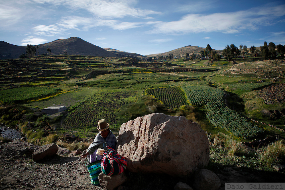 Felicia, an Aymara indigenous farmer sells cheese as she waits for public transportation on a road near Achacachi, north of  La Paz, Friday, Dec. 18, 2009. While in Copenhagen world leaders try to reach a global agreement to restrict carbon dioxide emissions worldwide,  underdeveloped countries like Bolivia are amongst the most probable to be stroke by climate change effects in the upcoming years.