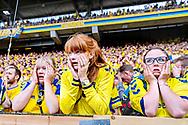 Chokerede fans under kampen, da br&oslash;ndby kommer bagud 0-1 mandag. d. 21. maj 2018. Superliga Br&oslash;ndby-Aab.<br /> (Foto: Bax Lindhardt/ Scanpix 2018)