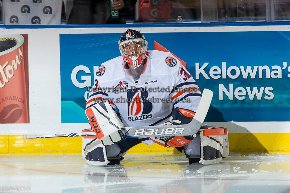 KELOWNA, CANADA - SEPTEMBER 22: Dylan Ferguson #31 of the Kamloops Blazers stretches on the ice during warm up against the Kelowna Rockets on September 22, 2017 at Prospera Place in Kelowna, British Columbia, Canada.  (Photo by Marissa Baecker/Shoot the Breeze)  *** Local Caption ***