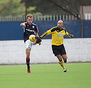 Dundee's Conor Quigley and Cove's Paul McManus  - Cove Rangers v Dundee under 20s pre-seson friendly at Links Park, Montrose, Photo: David Young<br /> <br />  - &copy; David Young - www.davidyoungphoto.co.uk - email: davidyoungphoto@gmail.com