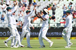 Cape Town-180323 Proteas Kagiso Rabada cought Usman Khawaja of Australian on day 2 of the Sunfoil cricket test at Newlands cricket stadium. .Photograph:Phando Jikelo/African News Agency/ANA
