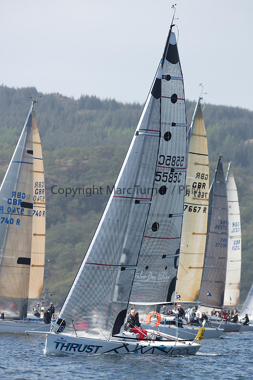 Day two of the Silvers Marine Scottish Series 2015, the largest sailing event in Scotland organised by the  Clyde Cruising Club<br /> Racing on Loch Fyne from 22rd-24th May 2015<br /> 5585C, Thrust, Richard Shellcock, Oban SC, Prism 28<br /> <br /> Credit : Marc Turner / CCC<br /> For further information contact<br /> Iain Hurrel<br /> Mobile : 07766 116451<br /> Email : info@marine.blast.com<br /> <br /> For a full list of Silvers Marine Scottish Series sponsors visit http://www.clyde.org/scottish-series/sponsors/