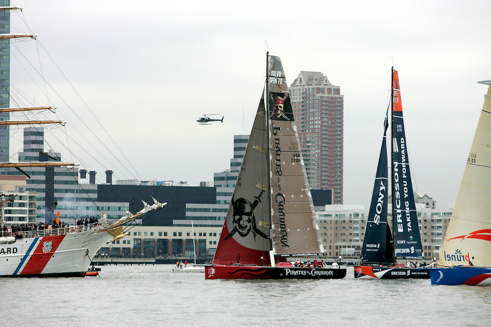 Race yachts sail out of New York harbor during the start of leg seven of the Volvo Ocean Race to Portsmouth, England Thursday, 11 May 2006 in New York. The Volvo Ocean Race, which was once known as the Whitbread race, brings the best sailors from around the world for a circumnavigation in 70 foot boats, in a race of close to 33,000 miles.