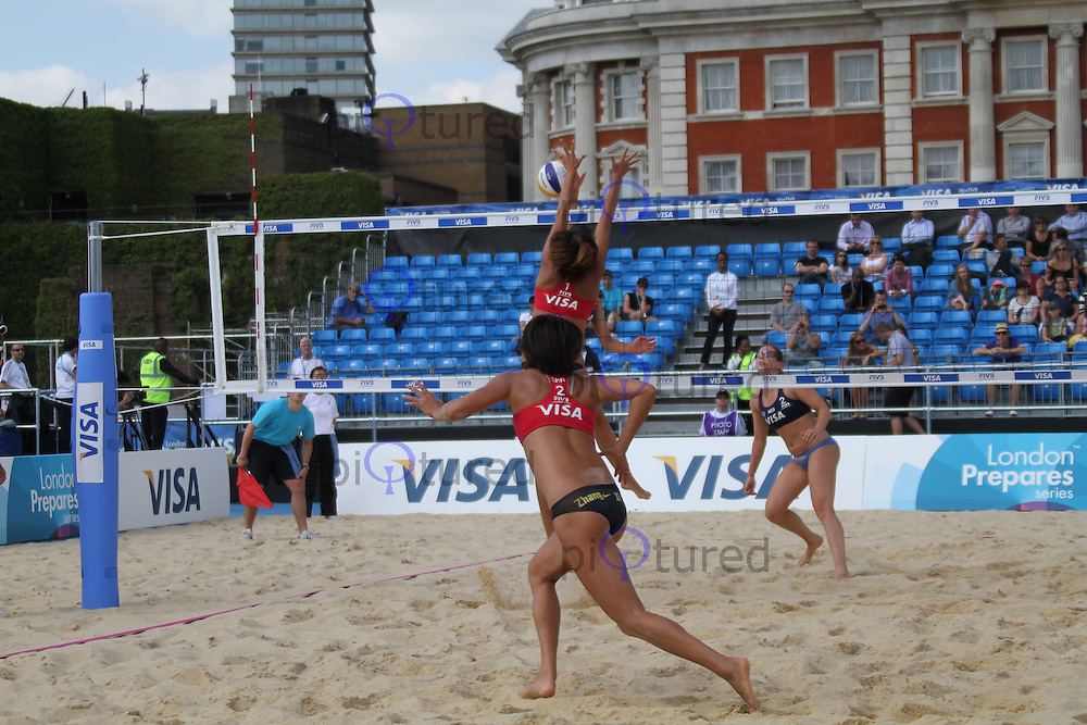 Chen Xue & Xi Zhang (China); Jolien Sinnema & Margo Wiltens (Netherlands) Visa FIVB Beach Volleyball International - London 2012 test event - Horse Guards Parade, Horse Guards Parade, London, UK, 09 August 2011:  Contact: Rich@Piqtured.com +44(0)7941 079620 (Picture by Richard Goldschmidt)