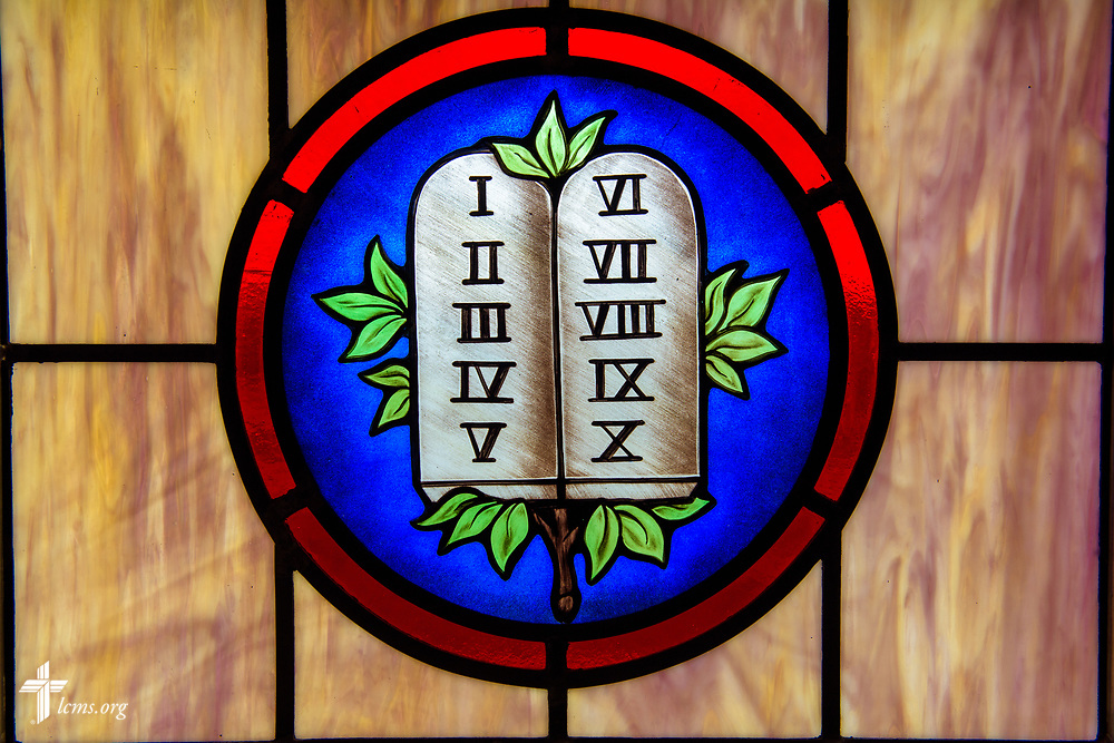 Stained glass depicting the Ten Commandments (Exodus 20) at St. John's Lutheran Church, Conover, N.C, on Friday, April 21, 2017. LCMS Communications/Erik M. Lunsford