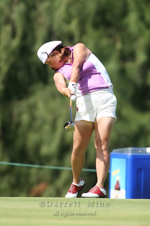 February 16, 2006 - Kahuku, HI - Christina Kim tees off during Round 1 of the LPGA SBS Open at Turtle Bay Resort...Photo: Darrell Miho