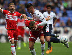 Gary Madine of Bolton Wanderers (R) and Ben Gibson of Middlesbrough in action - Mandatory by-line: Jack Phillips/JMP - 09/09/2017 - FOOTBALL - Macron Stadium - Bolton, England - Bolton Wanderers v Middlesbrough - English Football League Championship