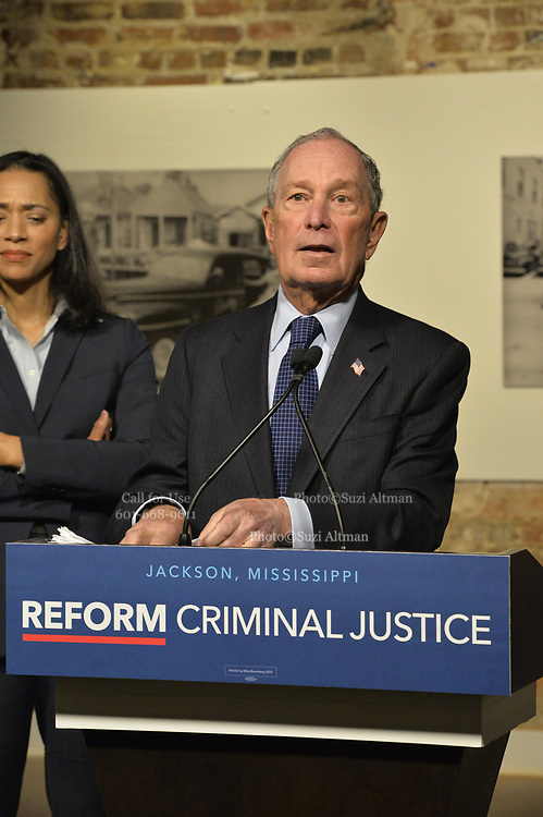 """12/3/19 Jackson, MS. Democratic Presidential candidate and former New York City Mayor Michael Bloomberg visits with Mayor Chokwe Antar Lumumba at the Smith Robertson Museum. Bloomberg and the Mayor of Jackson where their to have a discussion on criminal justice reform with community leaders. Bloomberg spoke with the press after his meeting with community leaders and said he made a mistake with """"stop and frisk"""" policy in New York City and has learned from his mistakes. Today at the community meeting Presidential candidate Michael Bloomberg unveiled three criminal justice reform policy proposals. The proposals focus on reducing the United States incarceration rates, which are the highest in the world and addressing the failings of the criminal justice system that disproportionately harms communities of color. Bloomberg will introduce his plan for comprehensive criminal justice reform in the coming weeks. Photo ©Suzi Altman"""