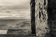 View Of Mt. Hood with Columbia River Gorge in foreground viewed from Maryhill Stongehenge