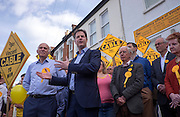© Licensed to London News Pictures. 04/05/2015. South West London, UK. VINCE CABLE and NICK CLEGG. Deputy Prime Minister Nick Clegg and Business Secretary Vince Cable at Vince Cable's Constituency Office in Twickenham. Nick Clegg, Deputy Prime Minister and Leader of the Liberal Democrats campaigns in the UK General Election in South West London today 4th May 2015. Photo credit : Stephen Simpson/LNP