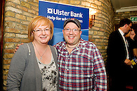 "19/7/2011. Moyra McMahon Ulster Bank, with  Propeller Wayne Cater in McSwiggans for the pre show reception of Propeller's ""Comedy of Errors"" by Shakspeare in the Galway Arts Festival, sponsored by Ulster Bank. Photo:Andrew Downes"