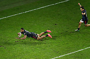 Waisea Nayacalevu Vuidravuwalu (Stade Francais) scored a try, Arthur Coville (Stade Francais Paris) during the French championship Top 14 Rugby Union match between Stade Francais Paris and Union Bordeaux-Begles on December 30, 2017 at Jean Bouin stadium in Paris, France - Photo Stephane Allaman / ProSportsImages / DPPI
