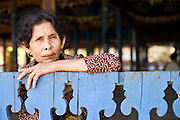 16 MARCH 2006 - KAMPONG CHAM, KAMPONG CHAM, CAMBODIA: A Cambodian woman at Wat Hanchey, a pre Angkorian temple complex above the Mekong River near the city of Kampong Cham in central Cambodia. Photo by Jack Kurtz / ZUMA Press