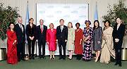 From left to right:  Bandana Rana, President, Saathi;  Ted Turner, CNN founder and UN Foundation chairman; H.R.H Princess Cristina of Spain;  President of the UN General Assembly Joseph Deiss; UN Women Executive Director Michelle Bachelet; UN Secretary-General Ban Ki-moon; Mrs. Ban Sook-taek; UN Deputy Secretary-General Asha-Rose Migiro; Permanent Representative of Nigeria and President of the UN Women Executive Board 2011 Ambassador Joy Ogwu; Juju Chang, news anchor for ABC's Good Morning America; Former Commander of the all-female Formed Police Unit in Liberia Rakhi Sahi; and Actress Geena Davis attend the launch event for UN Women, held in the General Assembly Hall at United Nations Headquarters in New York City on February 24, 2011.  UN Women is the new UN organization dedicated to gender equality and the empowerment of women.
