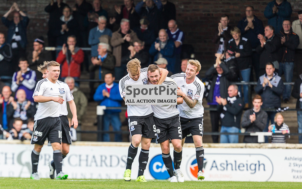 Nicky Devlin celebrates his goal against Peterhead during the Scottish League 1 fixture between Ayr Utd and Peterhead (c) ROSS EAGLESHAM | Sportpix.co.uk