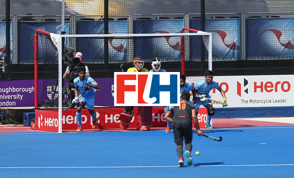 LONDON, ENGLAND - JUNE 20: India defend a penalty corner during the Pool B match between India and the Netherlands on day six of the Hero Hockey World League Semi-Final at Lee Valley Hockey and Tennis Centre on June 20, 2017 in London, England.  (Photo by Alex Morton/Getty Images)