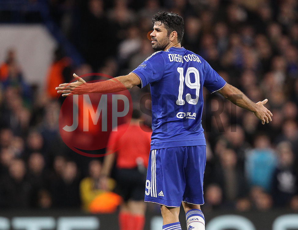 Diego Costa of Chelsea reacts during the match - Mandatory byline: Paul Terry/JMP - 09/12/2015 - Football - Stamford Bridge - London, England - Chelsea v FC Porto - Champions League - Group G