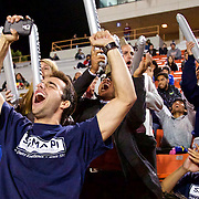 Cal State Fullerton fans cheer on their team as the Cal State Fullerton Titans take on the UC Santa Barbara Gauchos at Titan Stadium.