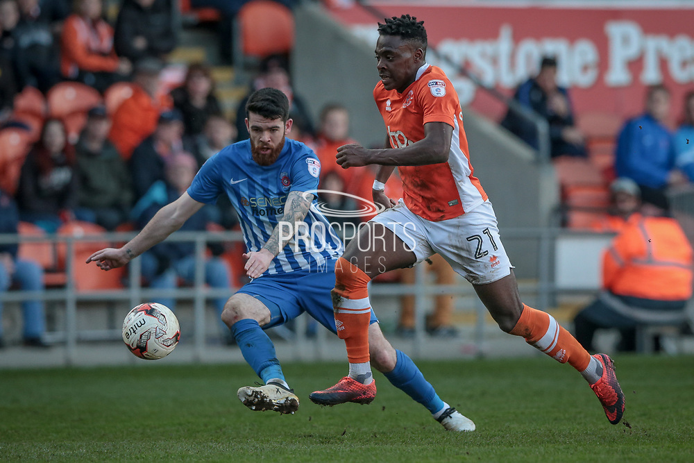 Bright Osavi-Samuel (Blackpool) runs with the ball during the EFL Sky Bet League 2 match between Blackpool and Hartlepool United at Bloomfield Road, Blackpool, England on 25 March 2017. Photo by Mark P Doherty.