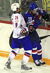 Kristian Forsberg vs Ivan Majesky at ice-hockey match Slovakia vs Norway at Preliminary Round (group C) of IIHF WC 2008 in Halifax, on May 03, 2008 in Metro Center, Halifax, Canada. (Photo by Vid Ponikvar / Sportal Images)