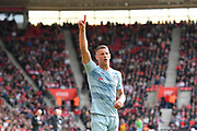 Goal - Ross Barkley (8) of Chelsea celebrates scoring a goal to give a 0-2 lead to the away team during the Premier League match between Southampton and Chelsea at the St Mary's Stadium, Southampton, England on 7 October 2018.