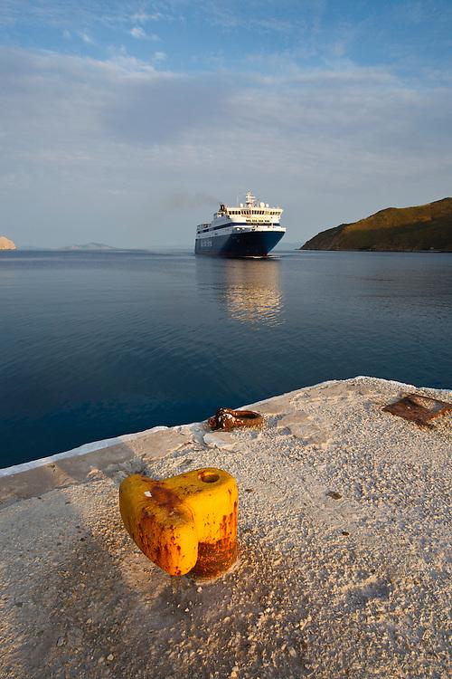 Ferry enters aegialis harbor, Amorgos, Cyclades, Greek Islands