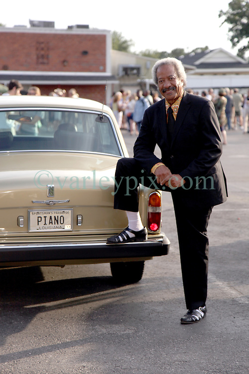 04 June 2012. New Orleans, Louisiana.<br /> Musician Allen Toussaint and his Rolls Royce. Mr Toussaint came to support local citizens gathered to show their support for a 7 day newspaper in the city following the recent shock announcement that the Times Picayune, having survived 175 years and Hurricane Katrina is to be decimated by Advance Publications Inc, a Newhouse family company. <br /> Photo; Charlie Varley