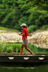 May 26, 2018 - Ann Arbor, Michigan, United States - Celine Herbin of Avranches, France  crosses the bridge on her way to the 7th tee during the third round of the LPGA Volvik Championship at Travis Pointe Country Club, Ann Arbor, MI, USA Saturday, May 26, 2018. (Credit Image: © Amy Lemus/NurPhoto via ZUMA Press)