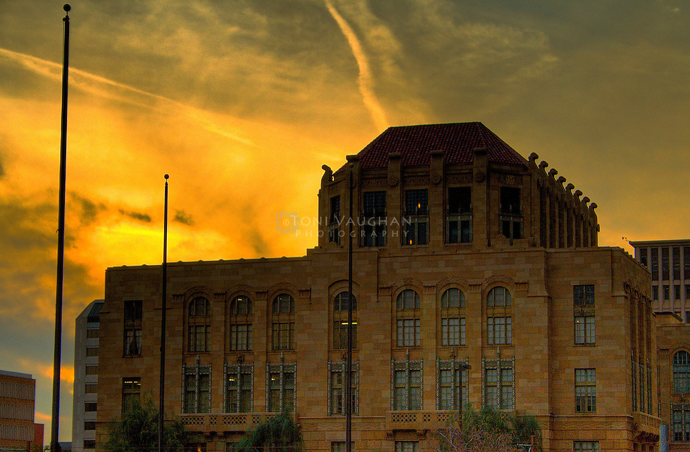 A sunset view of the historic Maricopa County Courthouse and Phoenix City Hall in Phoenix, Arizona. Designed by Edward F. Neild and constructed in 1928, the Art Deco structure is listed on the National Register of Historic Places.