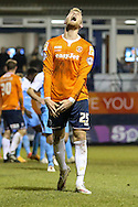 Jayden Stockley of Luton Town shows his frustration after his headed attempt on goal is judged not to have crossed the line during the Sky Bet League 2 match at Kenilworth Road, Luton<br /> Picture by David Horn/Focus Images Ltd +44 7545 970036<br /> 10/02/2015