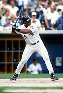 CHICAGO - 1997:  Frank Thomas of the Chicago White Sox bats during an MLB game at Comiskey Park in Chicago, Illinois.  Thomas played for the White Sox from 1990-2005. (Photo by Ron Vesely)