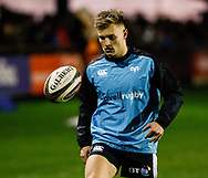 Harri Morgan of Ospreys during the pre match warm up<br /> <br /> Photographer Simon King/Replay Images<br /> <br /> Guinness PRO14 Round 7 - Ospreys v Connacht - Friday 26th October 2018 - The Brewery Field - Bridgend<br /> <br /> World Copyright &copy; Replay Images . All rights reserved. info@replayimages.co.uk - http://replayimages.co.uk