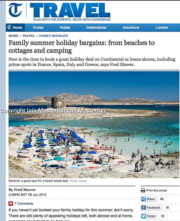 Telegraph; Sardinia beach