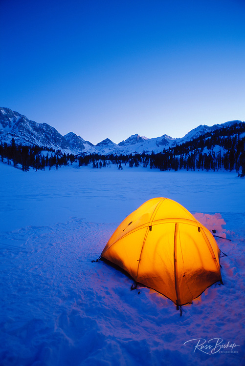 Winter camp, John Muir Wilderness, Sierra Nevada Mountains, California USA