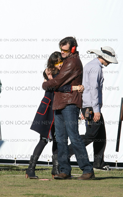 "Los Angeles, CA.December 04, 2007 EXCLUSIVE Photo. Jim Carey and Zooey Deschanel film a competitive skeet shooting scene for ""Yes Man"". In between takes Jim Carey and Zooey Deschanel share an extended hug. Jim Carey seemed nervous when the gun handler was showing Zooey Deschanel the correct shooting technique. Photo By Ford/ Buchan/ On Location News. 818-613-3955 info@onlocationnews.com"