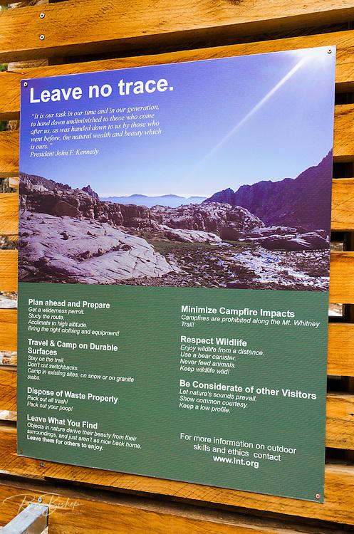 Interpretive sign at the start of the Mount Whitney Trail, John Muir Wilderness, California USA