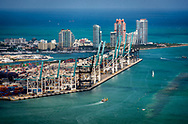 Aerial view of the Port of Miami and South Beach.