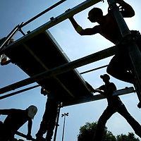 Workers build up facilities for the celebrations of Jerusalem Day in Saker Park, which starts on Tuesday night, May 14, 2007. Photo by Michal Fattal/Flash90.