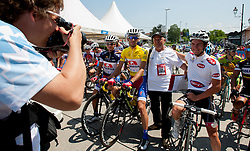 Photographer, Vid Ponikvar taking a picture before 4th Stage Brezice - Novo Mesto (155,8 km) at 20th Tour de Slovenie 2013, on June 16, 2013, in Brezice, Slovenia. (Photo by Urban Urbanc / Sportida.com)