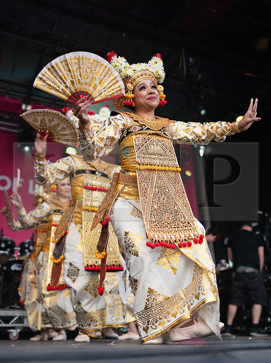 © Licensed to London News Pictures. 08/06/2019. London, UK. Women from the Lila Bhawa Indonesia dancing group perform at an event in Trafalgar Square to celebrate Eid ul-Fitr - the breaking of the fast. The festival marks the end of Ramadan, a holy month in the Muslim calendar when Muslims fast during the hours of daylight. This year, Eid occurred on Tuesday 4 June. Photo credit : Tom Nicholson/LNP