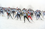 12 MAR 2005: Lowell Bailey (6) of the University of Vermont leads the men's pack down the starting sprint during the freestyle cross country event of the 2005 NCAA Men and Women's Skiing Championships held at Trapp Family Lodge  in Stowe, VT. Bailey placed 7th in the event. ©Brett Wilhelm