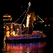 One of the crowd favorites at the Carolina Beach Island of Lights Floatilla was a small boat with a nativity scene and angel on deck.