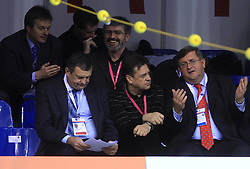 Ciril Globocnik, President of PZS Jure Prosen, Roman Jakic, mayor of Ljubljana Zoran Jankovic and mayor of Rijeka Vojko Obersnel at 4th day of  LEN European Short Course Swimming Championships Rijeka 2008, on December 14, 2008,  in Kantrida pool, Rijeka, Croatia. (Photo by Vid Ponikvar / Sportida)