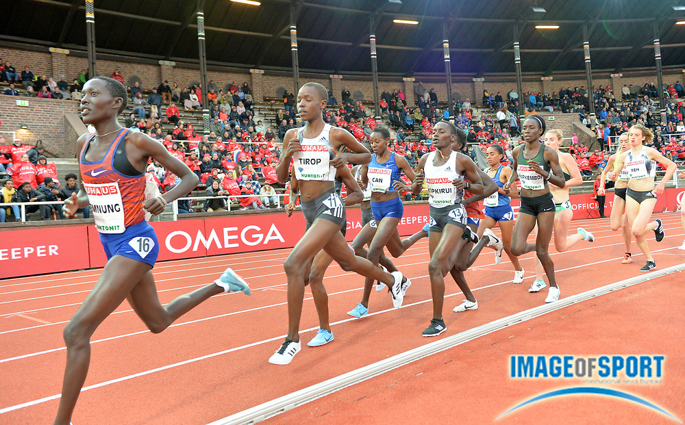 Agnes Tirop (KEN) wins the women's 5,000m in 14:50.82 during the Bauhaus-Galan in a IAAF Diamond League meet at Stockholm Stadium in Stockholm, Sweden on Thursday, May 30, 2019. From left: Loice Chemnung (KEN), Tiprop, Hellen Obiri (KEN), Caroline Kipkirui and Margaret Kipkemboi (KEN). (Jiro Mochizuki/Image of Sport)