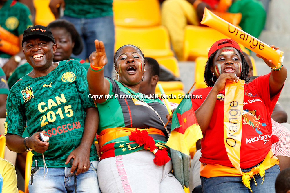 Cameroon fans  root  against Guinea during their AFCON match at the Nueva Estadio de Malabo on January 24, 2015.Photo/Mohammed Amin/www.pic-centre.com (Equatorial Guinea)