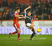 Dundee&rsquo;s Paul McGowan and Aberdeen&rsquo;s Graeme&nbsp;Shinnie - Aberdeen v Dundee in the Ladbrokes Scottish Premiership at Pittodrie, Aberdeen. Photo: David Young<br /> <br />  - &copy; David Young - www.davidyoungphoto.co.uk - email: davidyoungphoto@gmail.com
